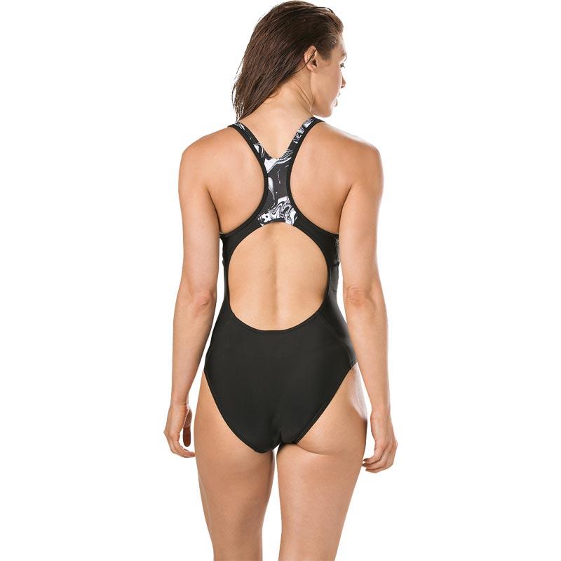 Speedo Fit Printed Laneback Swimsuit Black/White/Lava Red