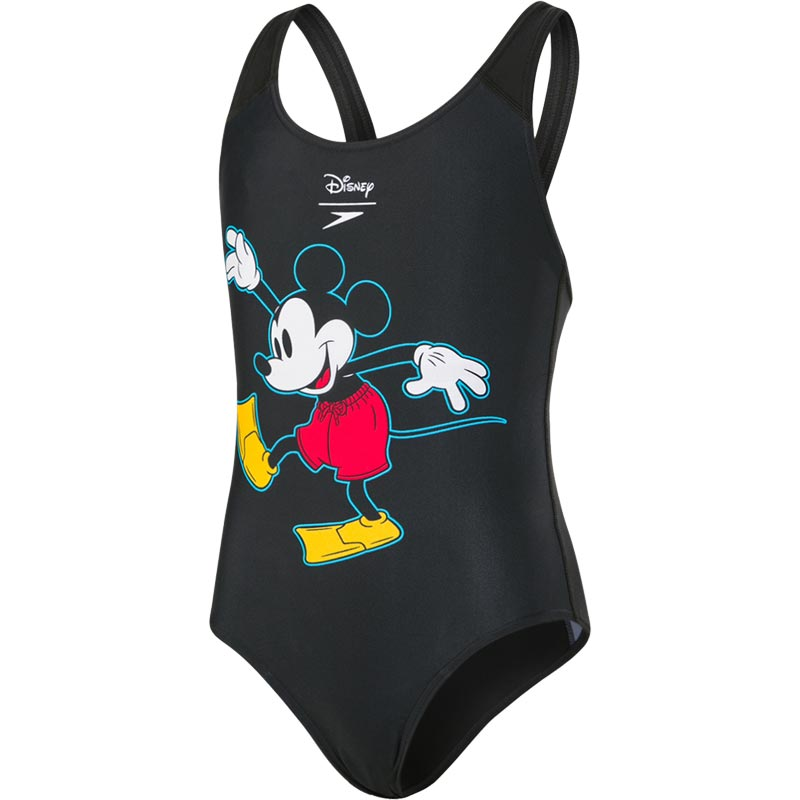 Speedo Disney Mickey Mouse Splashback Swimsuit Blac/Red/Yellow