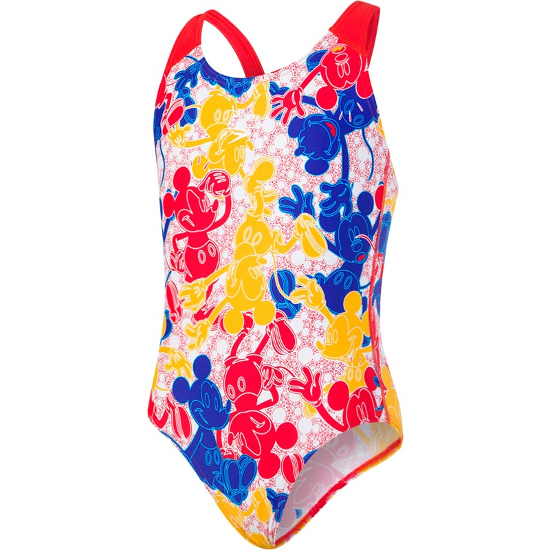 Speedo Disney Mickey Mouse Allover Splashback Swimsuit Blue/Red/Yellow