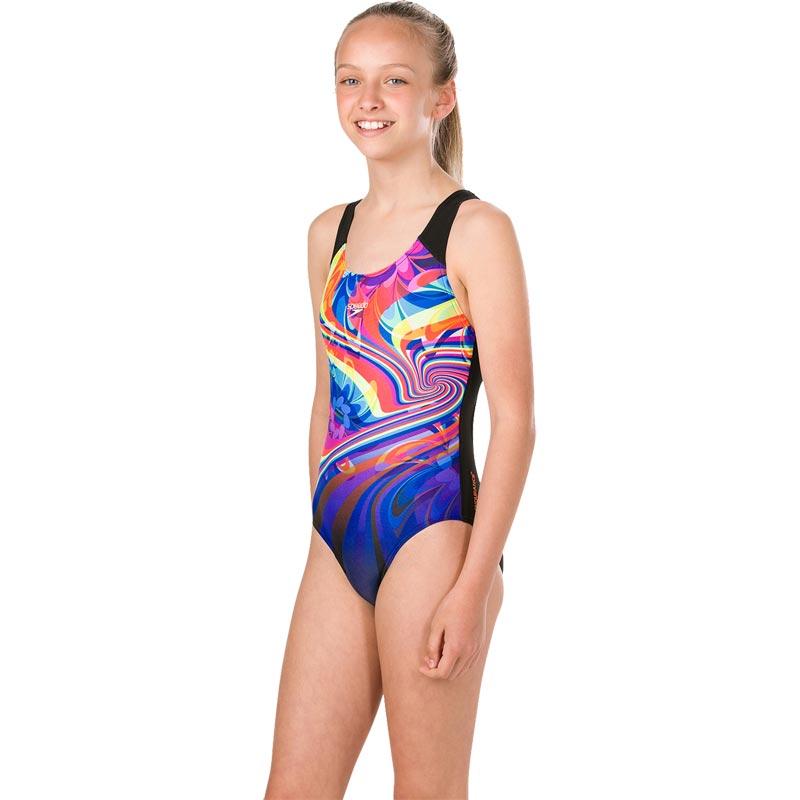Speedo Girls Placement Digital Splashback Swimsuit Black/Chroma Blue/Diva