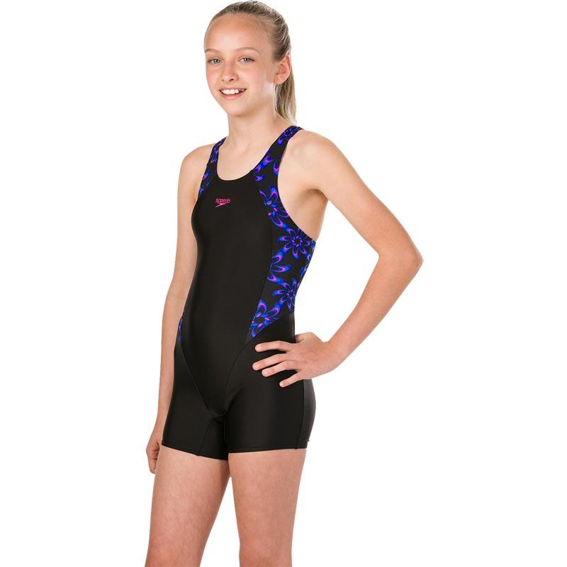 Speedo Girls Printed Legsuit Black/Electric Pink/Chroma Blue