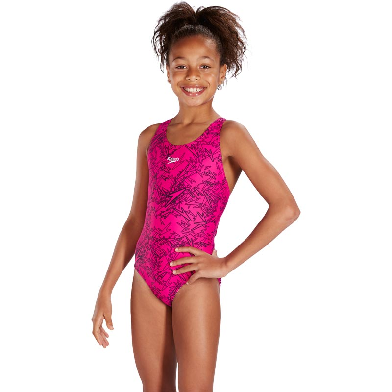Speedo Girls Boom Allover Splashback Swimsuit Electric Pink/Black