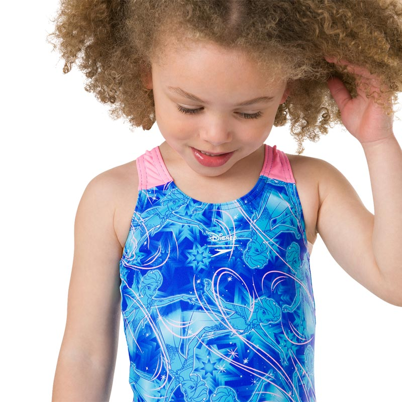 Speedo Disney Frozen Allover Swimsuit Blue/Turquoise/Pink