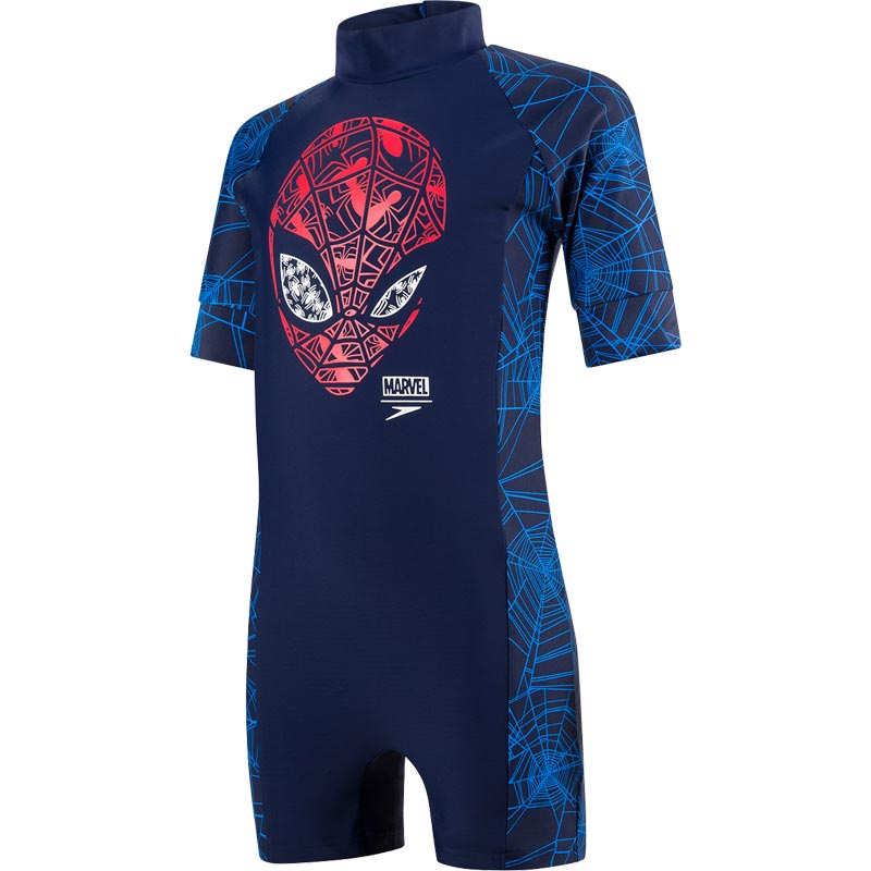 Speedo Marvel Spiderman All In One Navy/Lava Red/Neon Blue