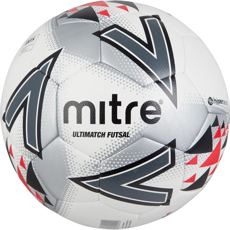 Mitre Ultimatch Futsal Football White/Red/Black