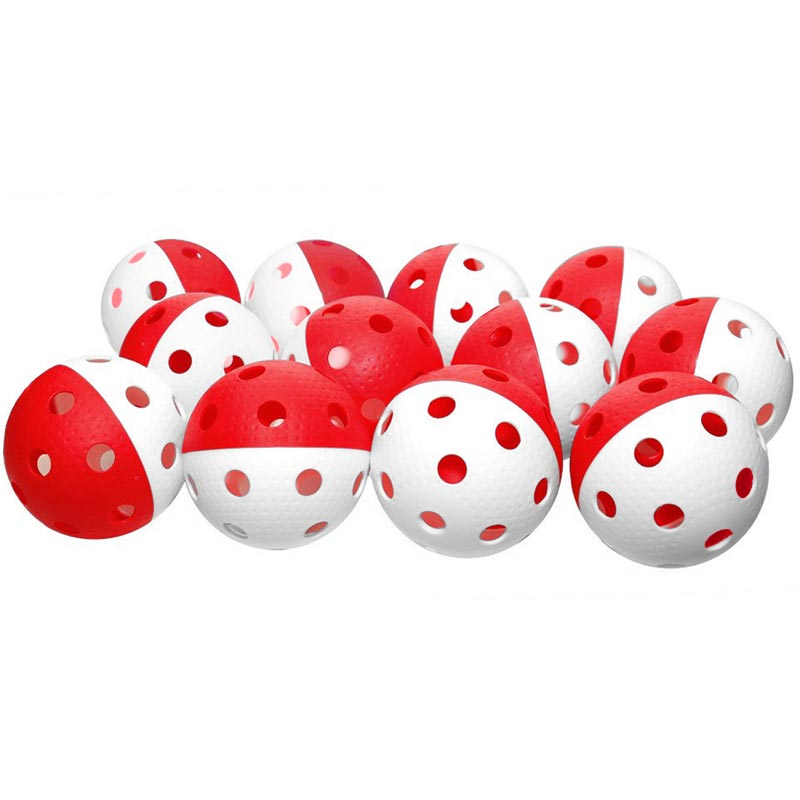 Eurohoc Floorball Precision Ball Red/White 12 Pack