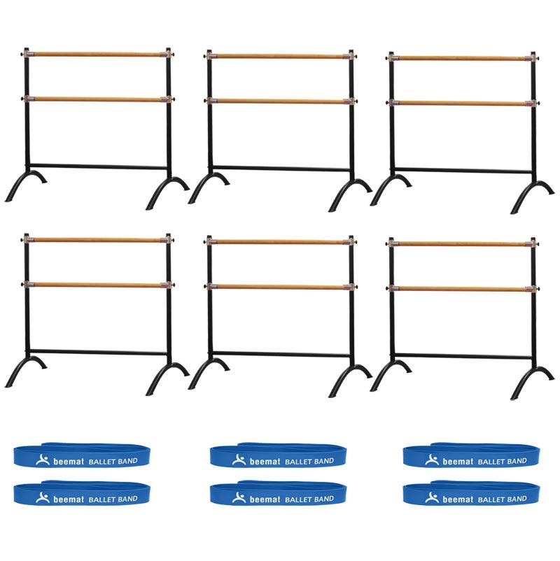 Beemat Freestanding Adjustable Double Ballet Barre 110cm 6 Pack