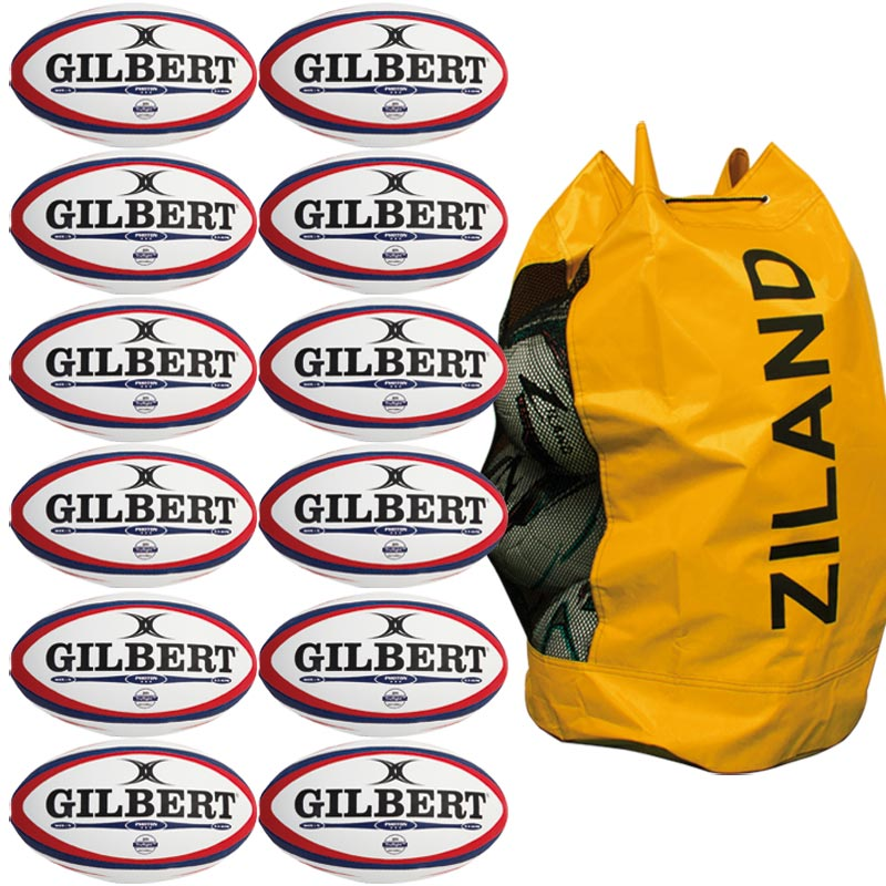 Gilbert Photon Match Rugby Ball White/Red 12 Pack