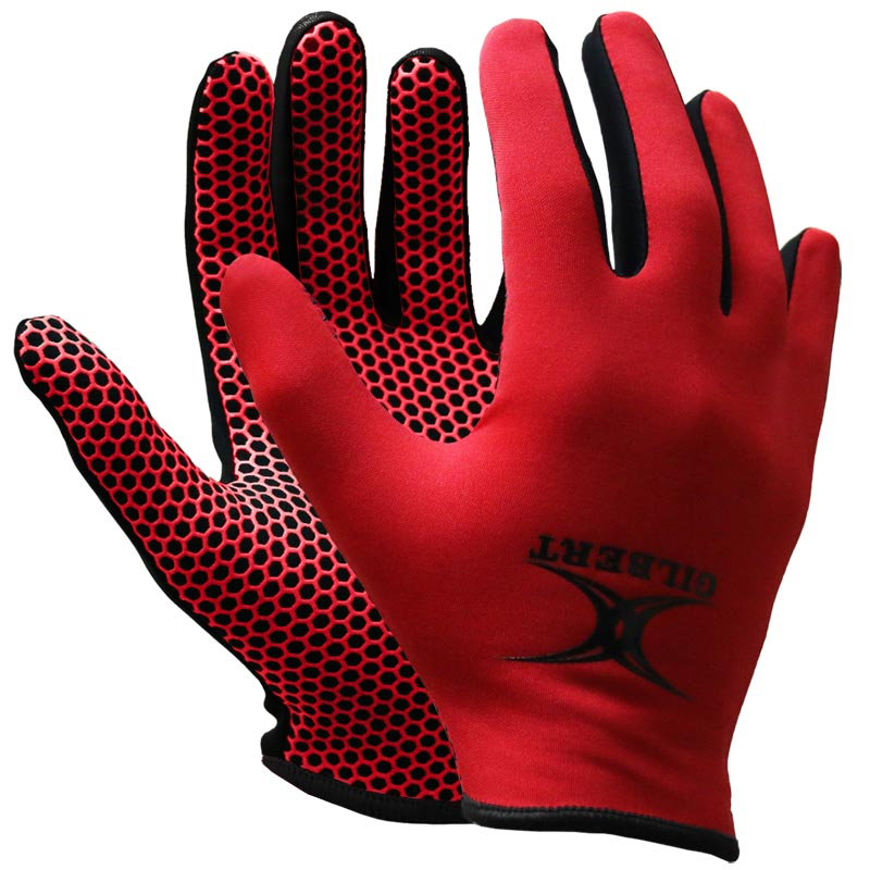 Gilbert Atomic Training Netball Gloves Red