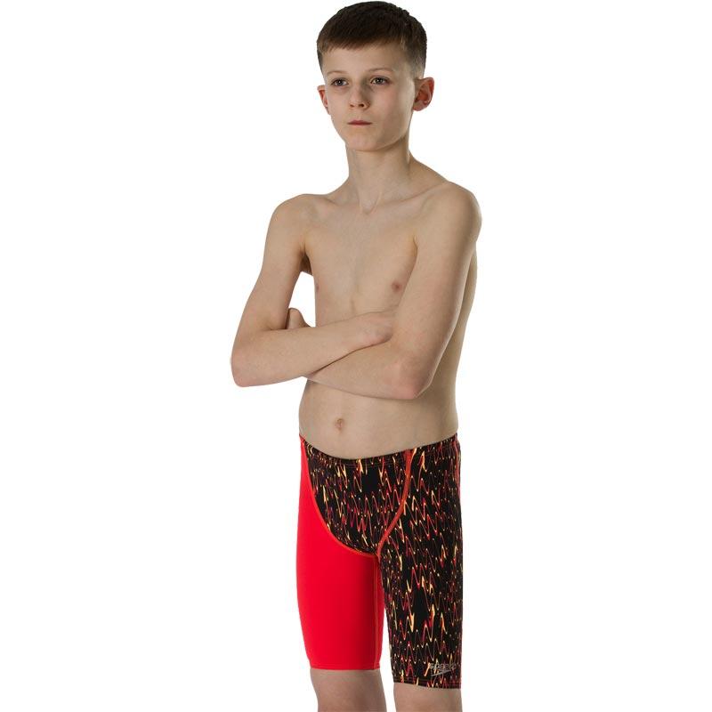Speedo Boys Fastskin Endurance Plus Jammer Blac/Lava Red/Papaya Punch
