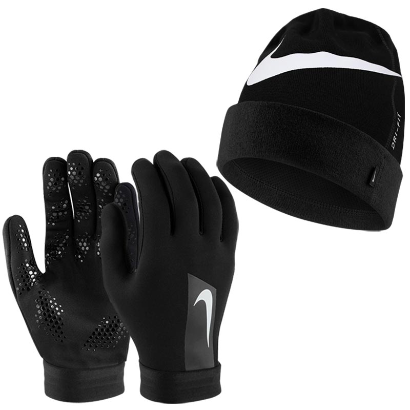 Nike HyperWarm Football Gloves and Hat Set