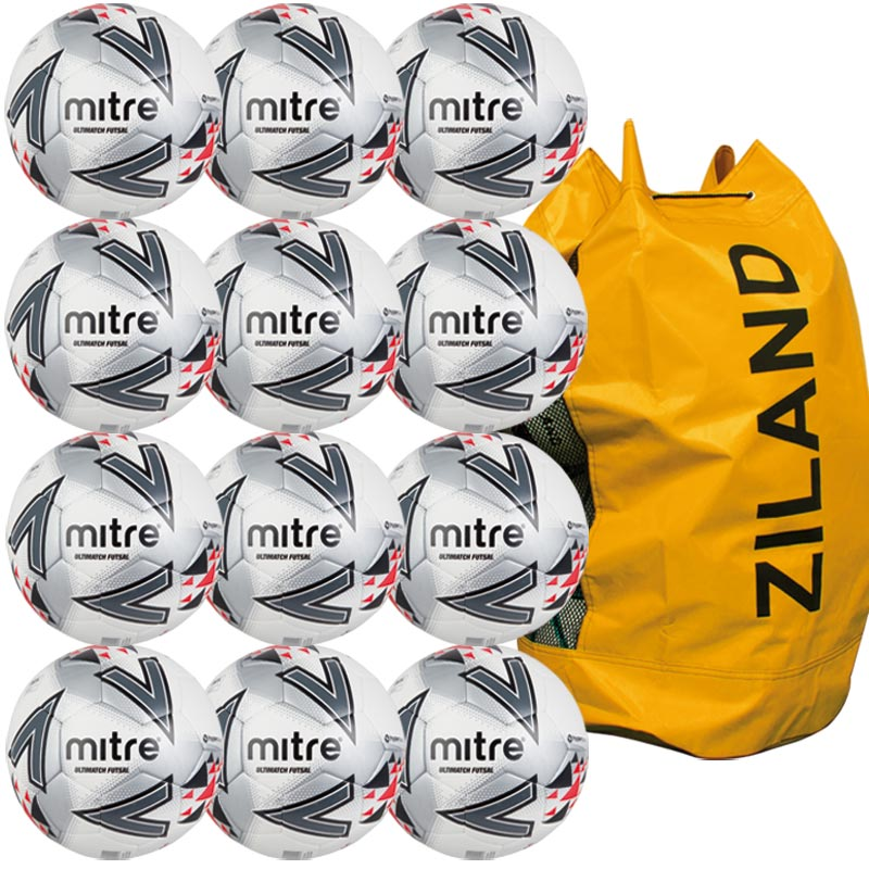 Mitre Ultimatch Futsal Football White/Red/Black 12 Pack